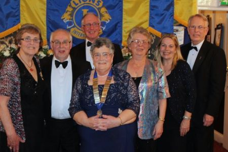 Lion President Janet and members of Cheddar Vale Lions Club at their annual Charter Anniversary