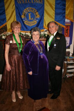 President Janet with 105SW 1st VDG Lion Peter Rowe and 105W 1st VDG Lion Sally Marsh