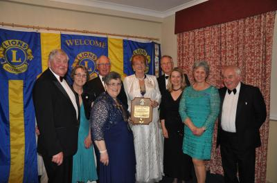 Lion President Janet Clark with District Governor Lion Marianne Warren and members of Cheddar Vale Lions Club