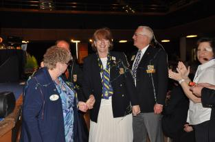 Lion Marianne - District Governor Elect for 105SW is greeted by delegates at Torquay
