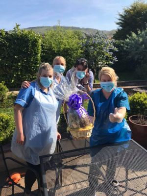 Presenting an Easter Egg to a Care Home in Draycott