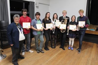 Lion President Janet with Cheddar Valley Music Club receiving their Young Leaders in Service Awards