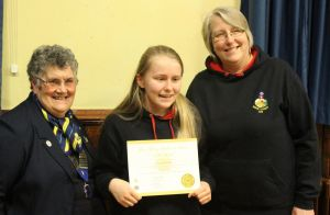Lion President Janet & Division Leader of Guides with Lizzie Arnold receiving her Gold Young Leaders in Service Award