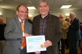 Charter Member Lion Norman Leavey was presented with the International President\'s Certificate of Appreciation by District Governor Lion Julian Chadwick at a farewell lunch. Lion Norman served 41 years with Cheddar Vale Lions Club but has recently moved to Cambridgeshire to live with family