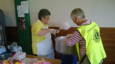 Janet & Lyn, mastering the art of Candy Floss making